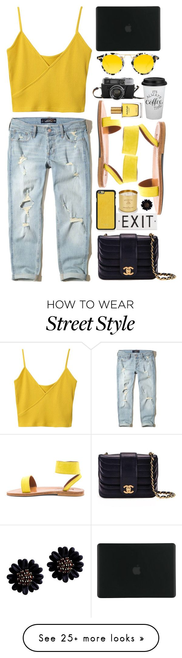 """""""Street style"""" by aashna-makkar on Polyvore featuring Tom Dixon, Hollister Co., K. Jacques, Chanel, Krewe, Tucano, Vianel and Strangelove NYC"""