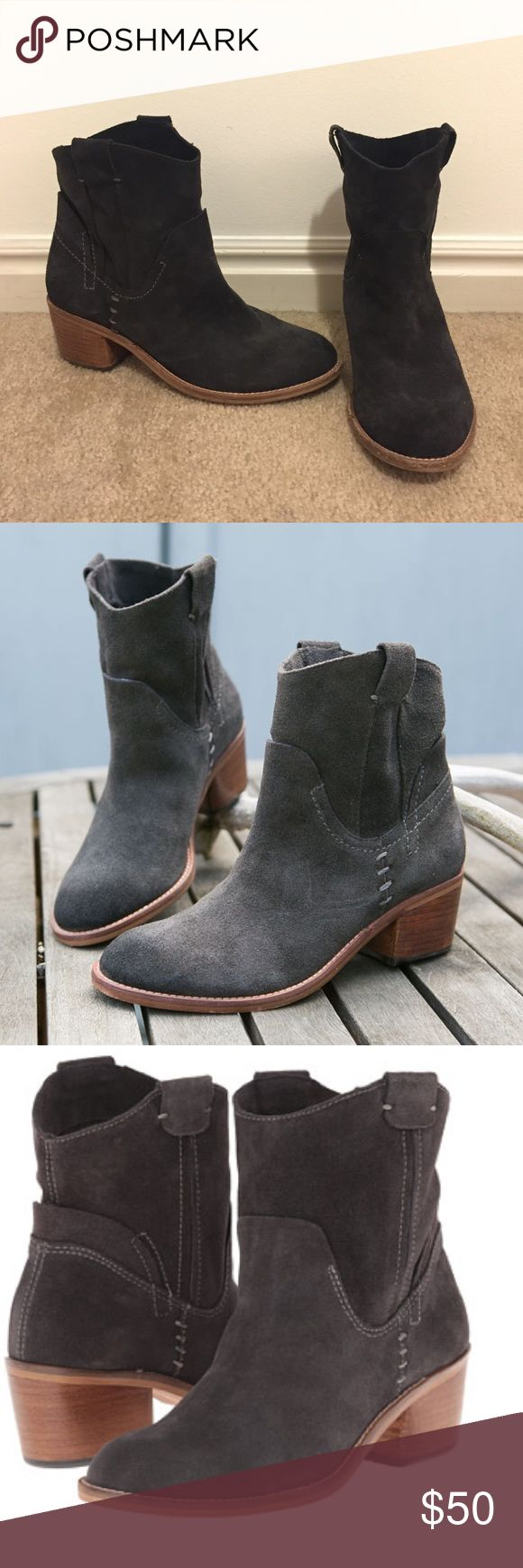 """Dolce Vita Graham/Grayden suede bootie, sz 8.5 Charcoal suede color. Like new. Worn a handful of times. Bring a little Wild West to your wardrobe with this ranch-ready suede bootie. The chunky, low heel and round toe give you room to pair with rustic denim or floaty boho styles, while the stitched details and double pull tabs keep the look authentic. 2"""" heel. 7"""" boot shaft. Suede upper/leather lining/rubber sole. By Dolce Vita Dolce Vita Shoes Ankle Boots & Booties"""