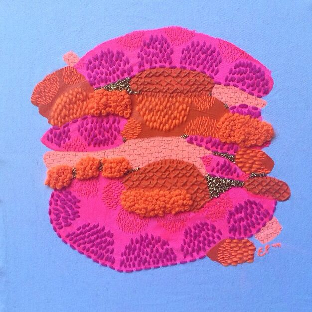 Hand painted and embroidered fabric artwork by Liz Payne