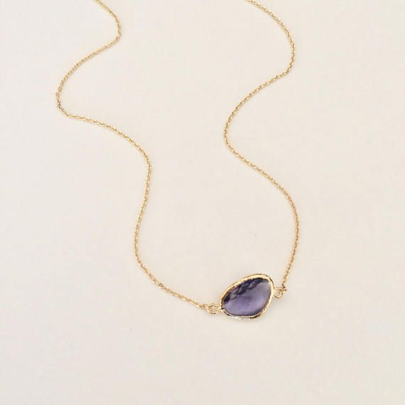 RM JEWELRY STUDIO, purple necklace, amethyst color, gold chain, simple, small, office necklace, work necklace, shape, glass bead, bezel