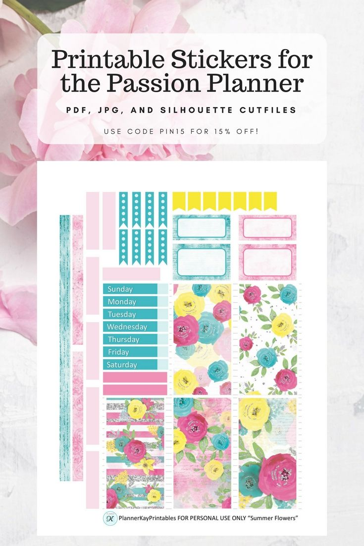 Add color to your Passion Planner with these printable planner stickers! Use code PIN15 for 15% off.