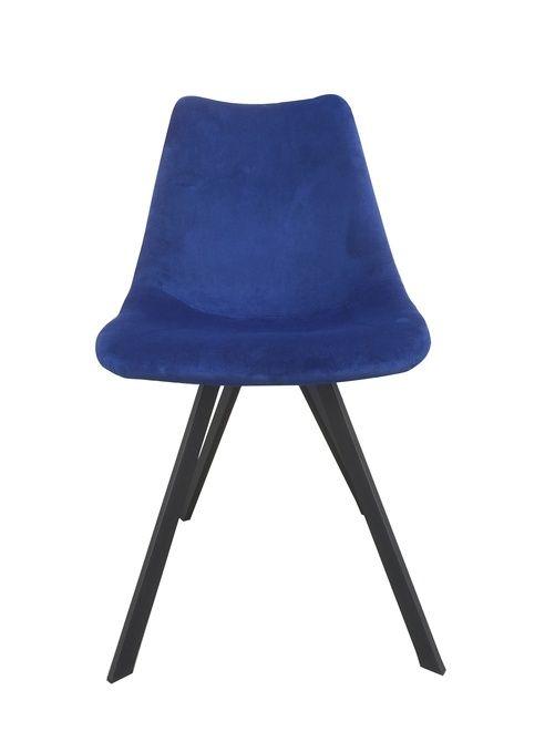 (2-pack) Stol med stoppad sits i sammet och ben i massivt trä Blå