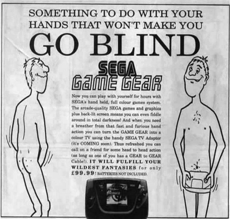 """Sega - """"Something to do with your hands that won't make you go blind""""."""