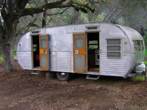 vintage trailers | double doors, unusual.