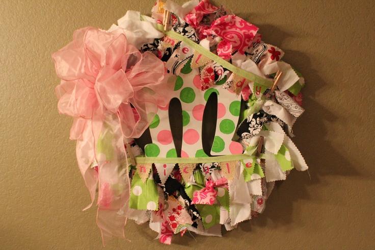 Large Wreath for Baby shower, nursery & hospital. $55.00, via Etsy.