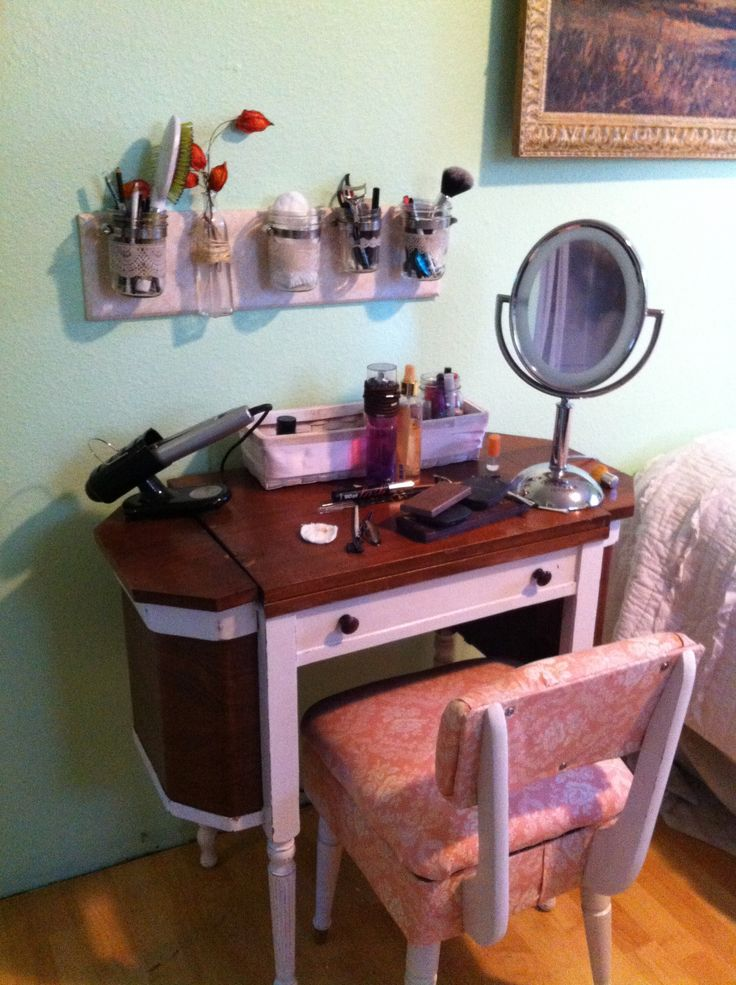 Antique sewing cabinet repurposed into a makeup table for Cute makeup vanity