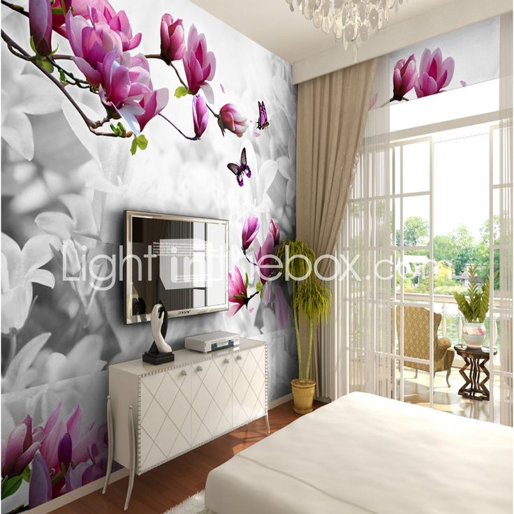 Pattern 3D Flower/Floral Wallpaper For Home Rustic Wall Covering , Canvas Material Adhesive required Wallpaper , Room Wallcovering 6316870 2017 – $63.99