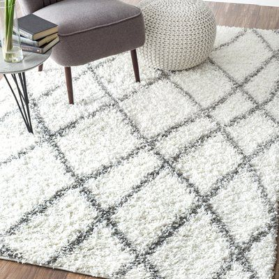 "Varick Gallery Tabron White Shag Area Rug Rug Size: 6'7"" x 9'"