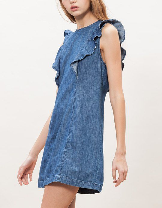 Stradivarius Denim dress with frill detail