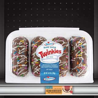 Hostess Bake Shop Twinkies! Decorated Twinkies with rainbow sprinkles and white chocolate drizzle 😋This new Bake Shop series will be rolling out over the next few weeks to grocery, club and convenience stores. Let us know where you find them! #thejunkfoodaisle