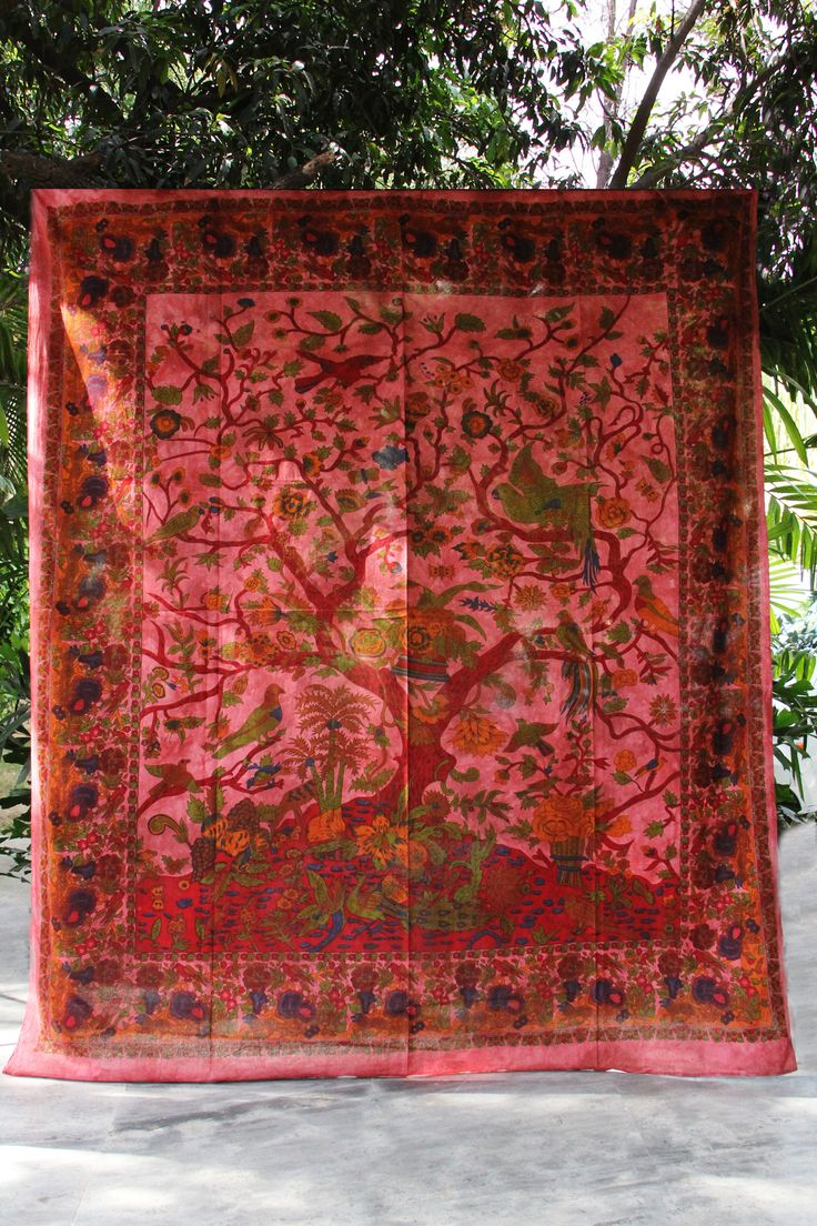 Jungle Scenery Magenta Tapestry