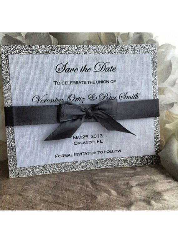 Silver Glitter & Ribbon Save the Date Card by VPElegance on Etsy