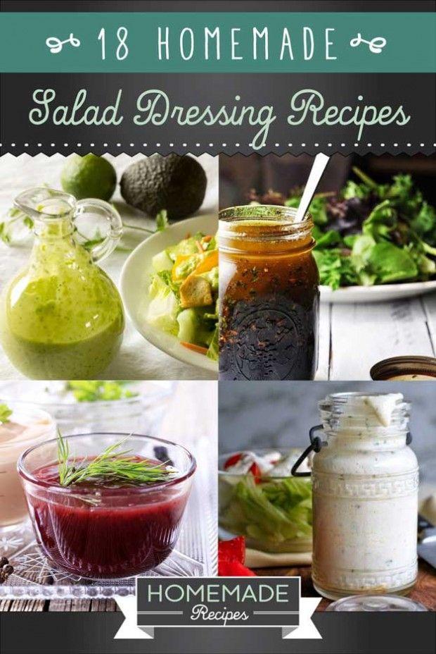 18 Homemade Salad Dressing Recipes by Homemade Recipes at http://homemaderecipes.com/healthy/18-homemade-salad-dressing-recipes/