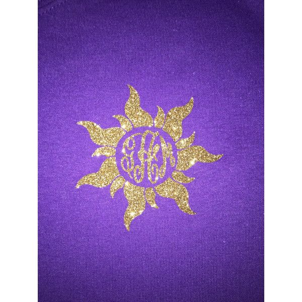 Tangled Sun Monogrammed T-Shirt ($17) ❤ liked on Polyvore featuring tops, t-shirts, gold, women's clothing, monogram t shirts, vinyl t shirt, shirts & tops, purple tee and purple top