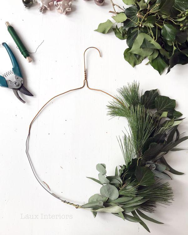 Wreaths For Front Door Diy Wire Hanger Christmas Natural