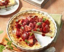 Ricottataart met verse aardbeien