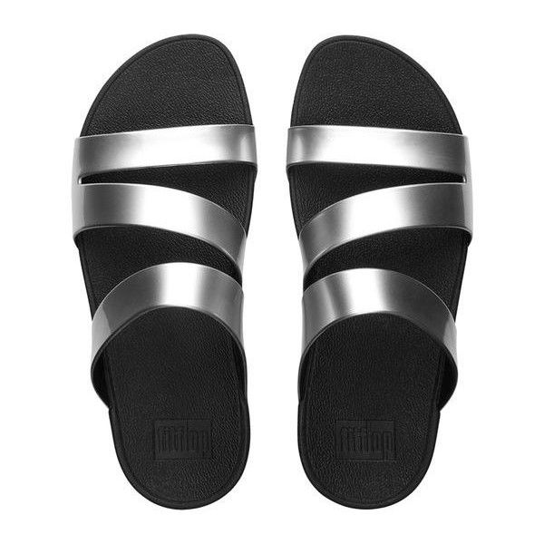 FitFlop Superjelly™ Twist Slide Sandals ($35) ❤ liked on Polyvore featuring shoes, sandals, silver mirror, strappy sandals, twisted shoes, silver strap shoes, silver shoes and beach shoes