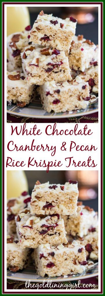 A Christmas version of a rice krispie treat – these are festive and delicious! With a classic combo of white chocolate, cranberries, and pecans, these come together in minutes!