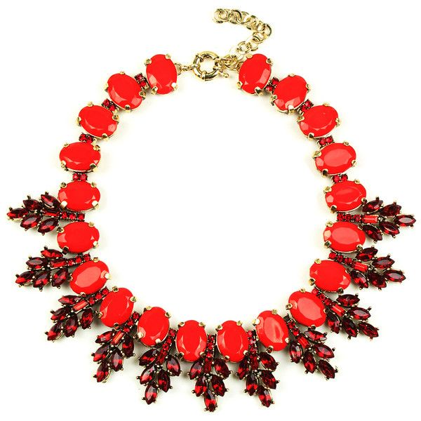 Eye Candy LA Red Crystal & Goldtone Statement Necklace (105 RON) ❤ liked on Polyvore featuring jewelry, necklaces, red jewelry, crystal jewelry, crystal statement necklace, bib statement necklace and red necklace