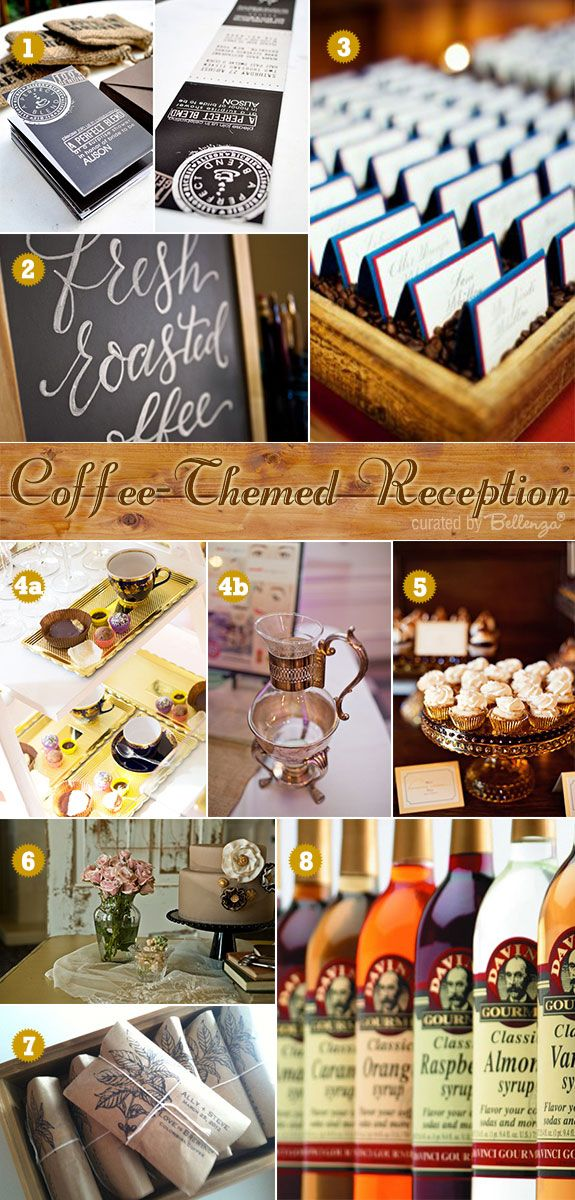 Coffee themed wedding ideas with a vintage-inspired setting. Consider the charm of an Old World coffee shop! Think wood paneling, upholstered seats, vintage decanters and fine china cups.  #vintageweddingreception #coffeethemereception