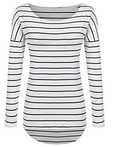 Women Striped Shirt Tops Long Sleeve Tunic Tops for Leggings for Women - http://www.darrenblogs.com/2016/12/women-striped-shirt-tops-long-sleeve-tunic-tops-for-leggings-for-women/