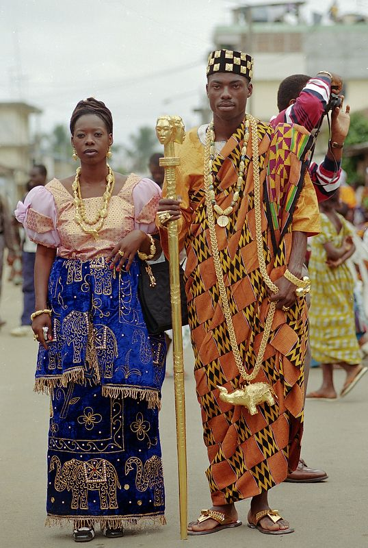 Ebrie Chieftain and his wife in their full traditional regalia at  the celebration of the Ebrie 'Fatchue' or the festival of the generations at Blokosso,Ivory Coast