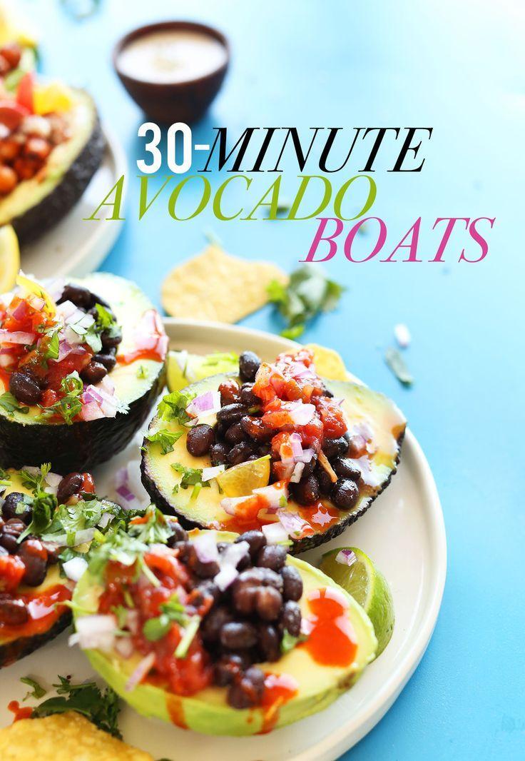Recipesfor vegan avocado boats. Posted on minimalistbaker.com by Dana and John.