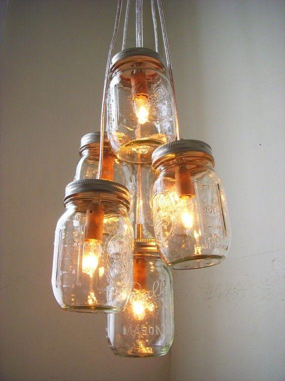 Summer's Glow - Mason Jar Chandelier Lighting Fixture Mason Jar Lighting - Mason Jar Wedding Accent Light - BootsNGus Chandelier Lamp Design