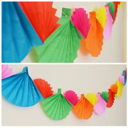 fan garland - Will be doing these to decorate our Lemonade stand!