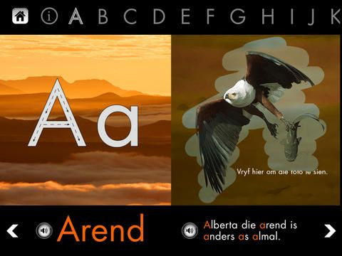 Leer spel met diere in Afrikaans.