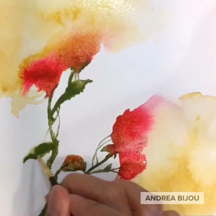 Wet Watercolor Technique by Andrea Bijou
