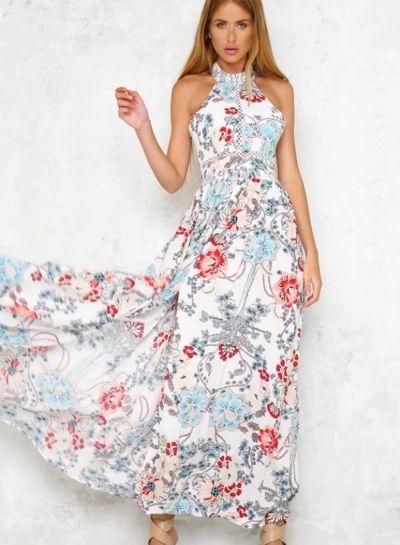 f9f0b80e49877 Fashion Floral Printed Halter Backless Lace-up Slit Maxi Dress ...