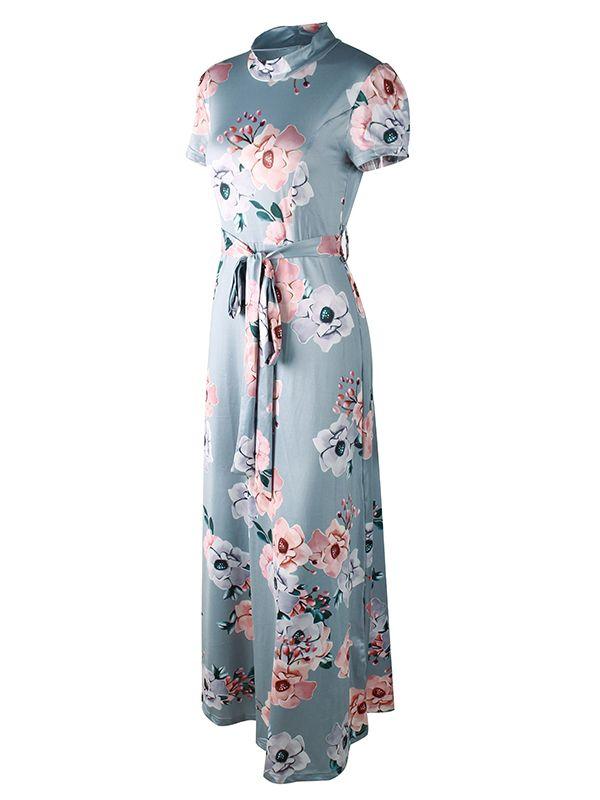2095c00c56a Women s Short Sleeve Mock Neck Floral Printed Maxi Dress With Adjustable  Belt  Ad  Mock