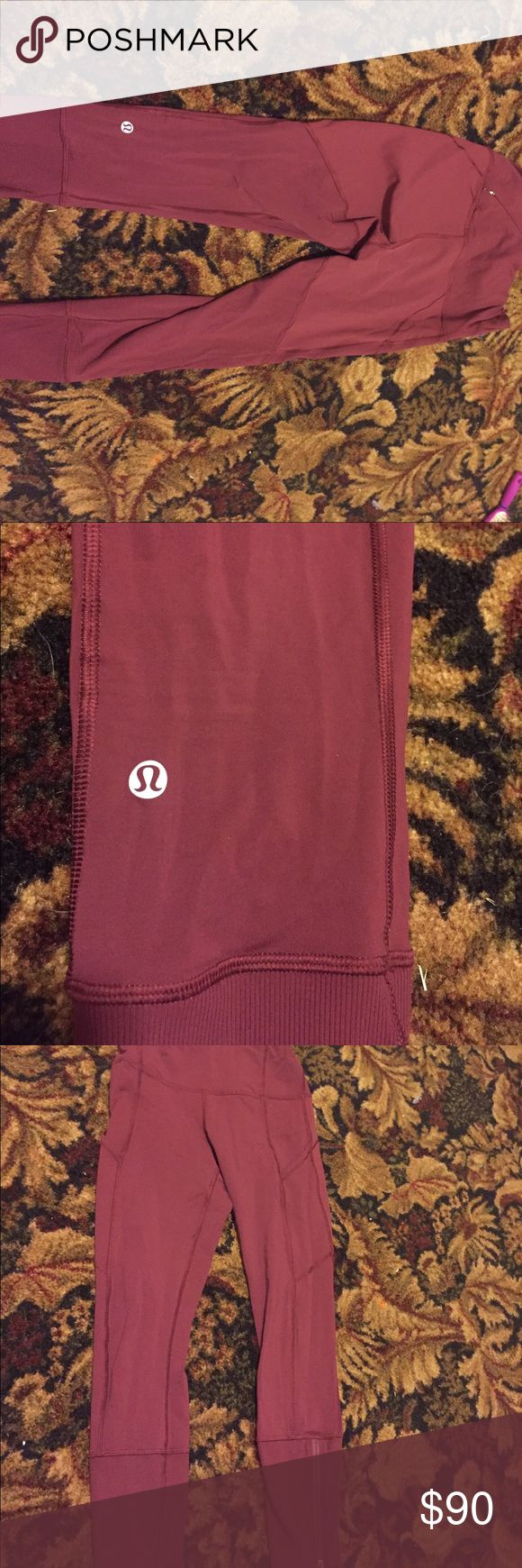 Lululemon maroon leggings size 4 No piling or tear they are in excellent condition lululemon athletica Other