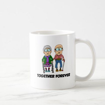 Together Forever Old Couple Cartoon Funny Mug - office ideas diy customize special