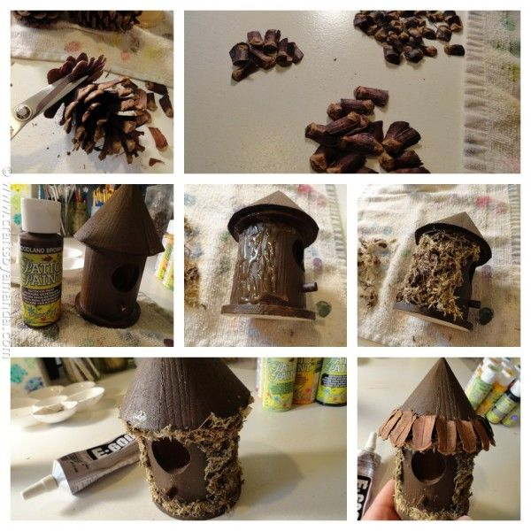 Make a Fairy House birdhouse for $1 painted with woodlawn brown patio paint, cut some shingles of med. pinecones, glues moss to outside, glue shingles on roof.