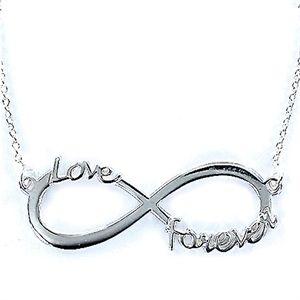 Collar Love de plata cadena muy fina infinito de 35 mm Love Forever