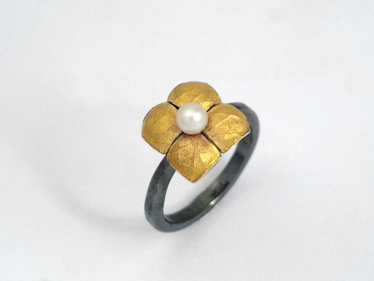 Gold silver ring in the shape of a 4-petal flower decorated with a pearl, Textured rings, Hammered rings, Oxidized silver ring, Gift for her by TomisCraft on Etsy