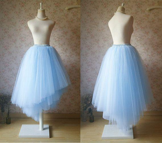 Light Blue Unique Long Tutu Skirt Bridal Skirt. by Dressromantic-$79.00+