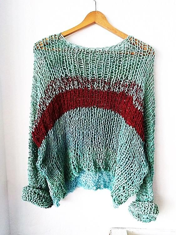 Hand knit sweater in dyed green