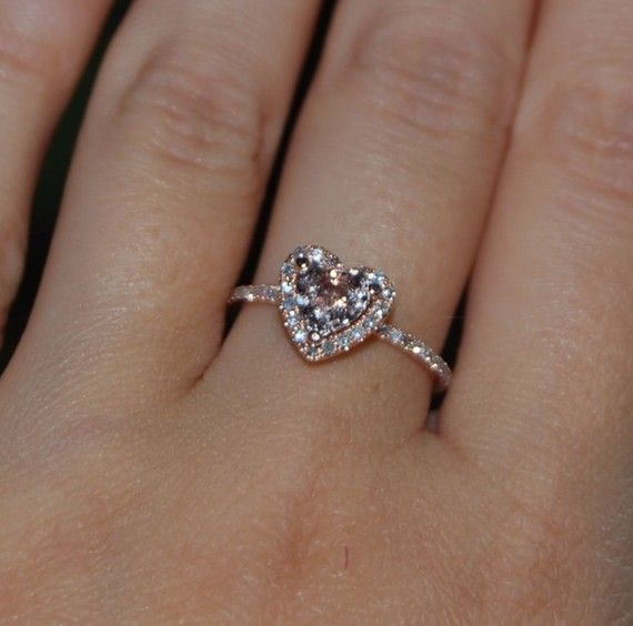 0.85ct Heart peach champagne sapphiire ring 14k by EidelPrecious, $1050.00