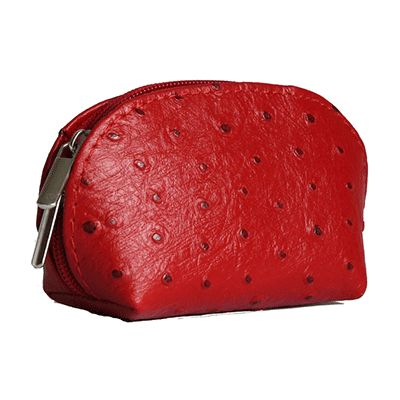 Red Ostrich Leather Coin Purse - Now with free UK postage!