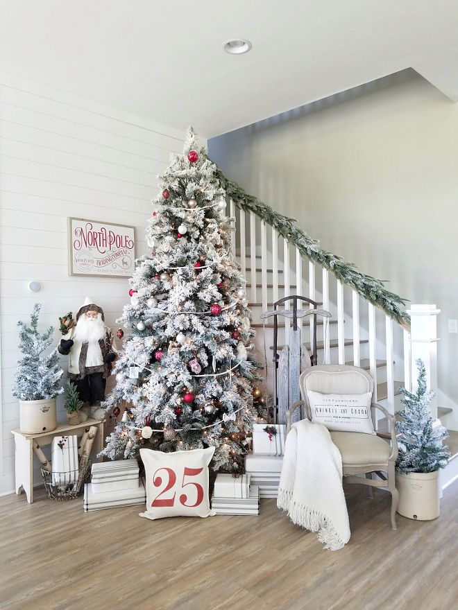 Staircase Christmas Decor Wall paint color is Sherwin-Williams