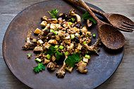 Barley, celery root and mushroom salad with scallion vinaigrette -- Locavore tip: substitute untoasted wheat berries for the barley