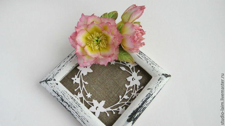 """Купить Заколка брошь с цветами из фоамирана """"Морозник"""" подарок на 8 марта - заколка с цветами"""