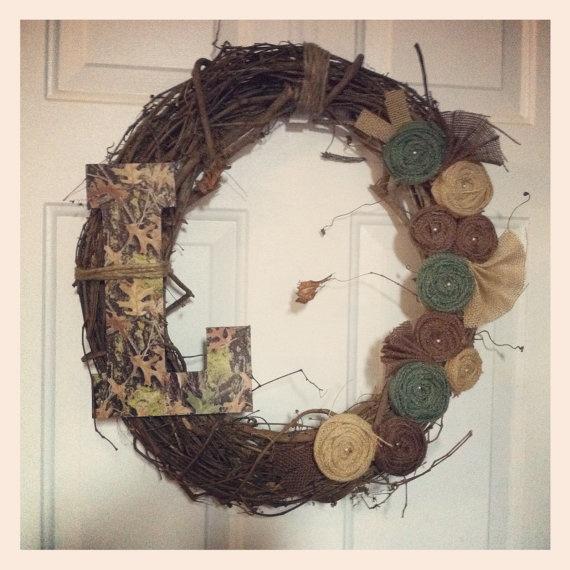 Camo Burlap Wreath Personilized / Monogram with burlap by cbcraft, $45.00