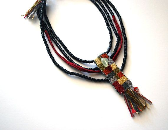 Handwoven necklace/ boho jewelry/ hippie fashion/ bohemian/ ethnic necklace…