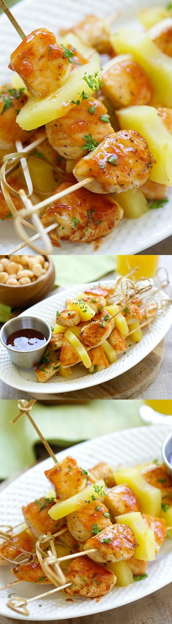 Hawaiian Chicken Bites – amazing chicken skewers with pineapple with Hawaiian…