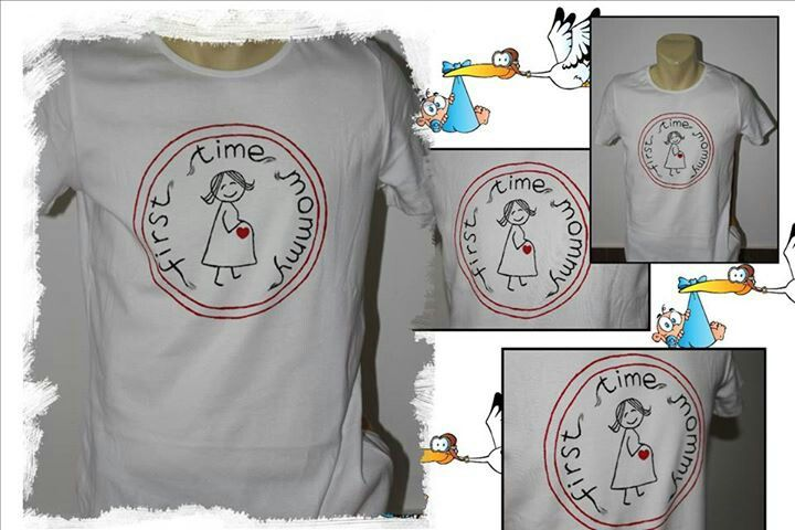 """""""First time mommy"""" hand painted t-shirt"""