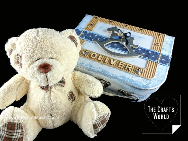 Baby storage box with a teddy bear